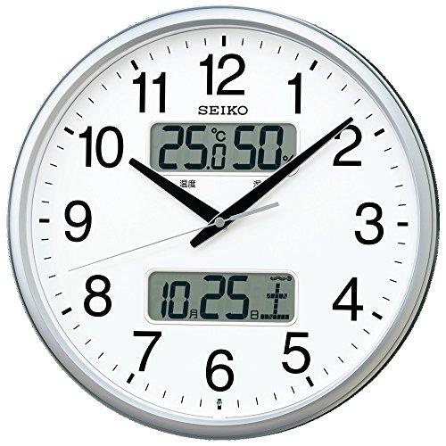 セイコー クロック 掛け時計 電波 アナログ カレンダー 温度 湿度 表示 銀色 メタリック KX235S SEIKO[un]