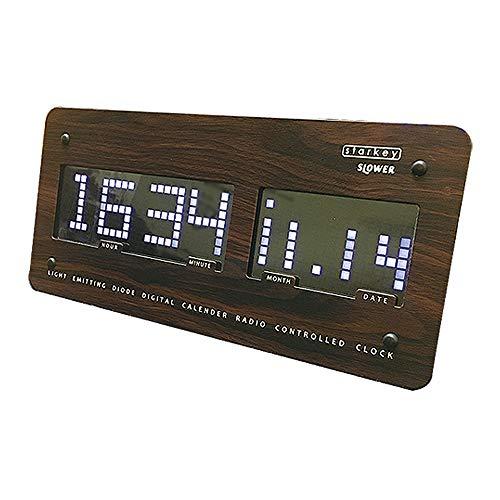 スロウワー(SLOWER) 置き時計 ウッド 12×26×2.8cm 電波 LEDクロック スターキー 置き掛け兼用 SLW 099[un]