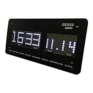 スロウワー(SLOWER) 置き時計 ブラック 12×26×2.8cm 電波 LEDクロック スターキー 置き掛け兼用 SLW 097[un]