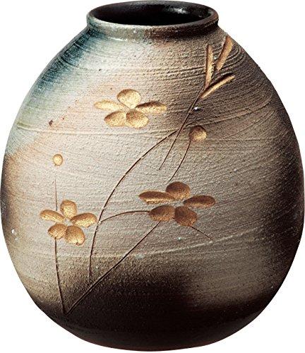 信楽焼 花器 金彩花彫花瓶 幅22x直径22x高さ23.5cm 510-04[un]