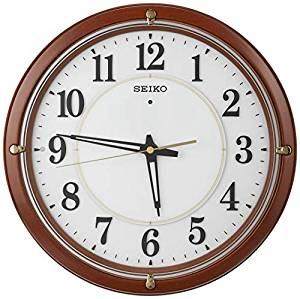 セイコークロック 掛け時計 茶木地 直径33.8×5.7 自動点灯 電波 アナログ 夜でも見える ファインライト KX240B[un]