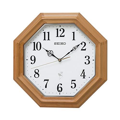 セイコークロック 掛け時計 天然色木地 本体サイズ:33.0×33.0×6.8cm ネイチャーサウンド 12種類 電波 アナログ 報時 切替式 RX216B[un]