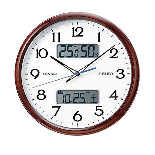 セイコークロック 掛け時計 05:茶木目 02:直径31cm 電波 アナログ カレンダー 温度 湿度 表示 ネクスタイム ZS252B[un]