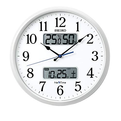 セイコークロック 掛け時計 02:白パール 01:直径35cm 電波 アナログ カレンダー 温度 湿度 表示 ネクスタイム ZS250W[un]