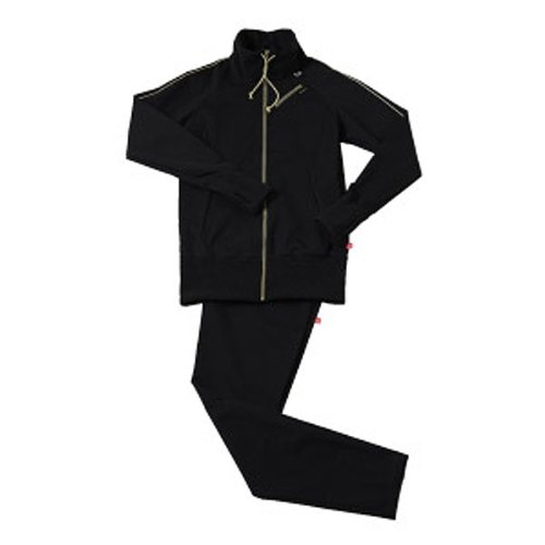 30'upDIET(サーティアップダイエット) シェイプスーツ サーモゲティア マルチポケット レディス トラックトップ ブラック×ゴールド Lサイズ 30-750