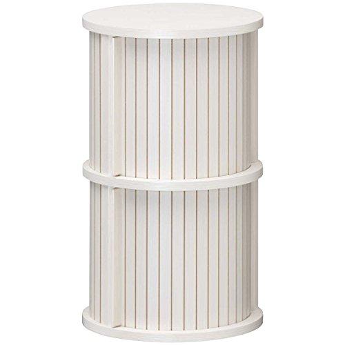 白井産業【SHIRAI】蛇腹扉の円筒型収納 整理棚 ねこ家具 チャモス ホワイト 白 幅約37cm 高さ約62cm CMO-6035JWH[un]