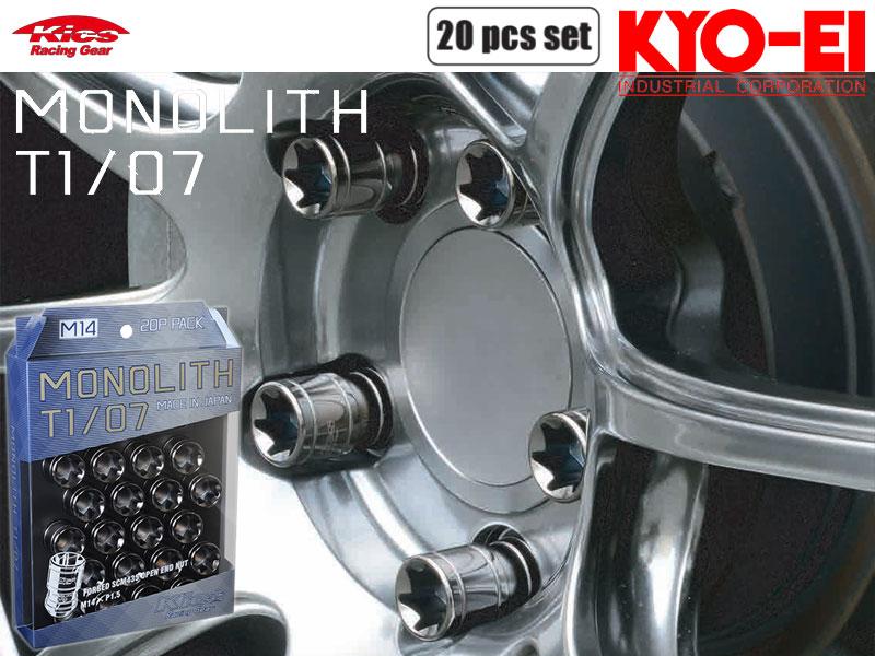 [KYO-EI_Kics]モノリスT1/07_M14×P1.5×20個入ホイールナット(グロリアスブラック)【MN04GK】