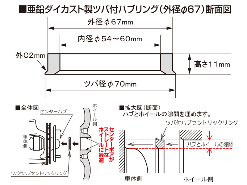 Outer diameter 67φ_ inside diameter 57 φ (product made in zinc die-casting)  with one hub cent Rick ring with the [KYO-EI] saliva