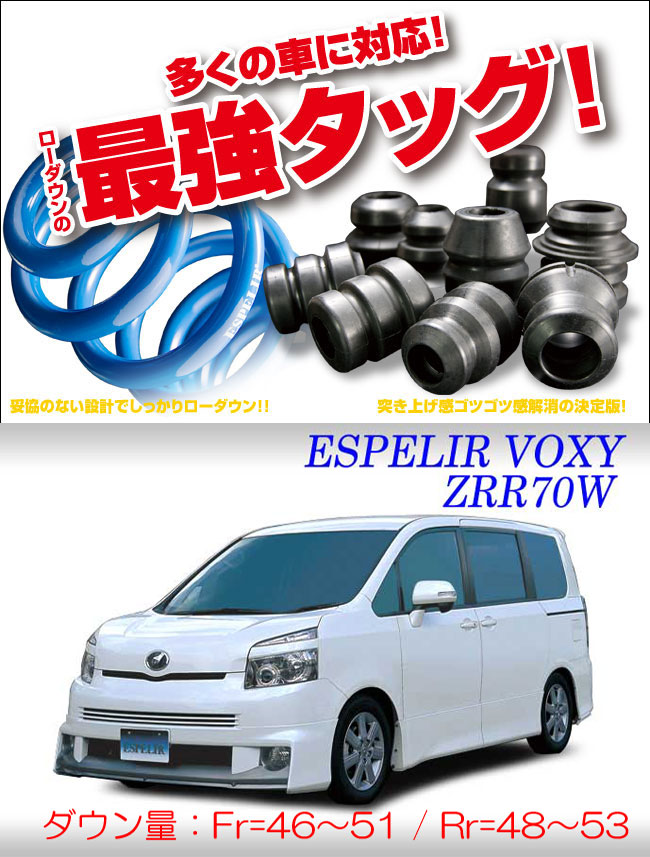 [ESPELIR]ZRR70W ノア(2WD/2.0L)用スーパーダウンサス+バンプラバー