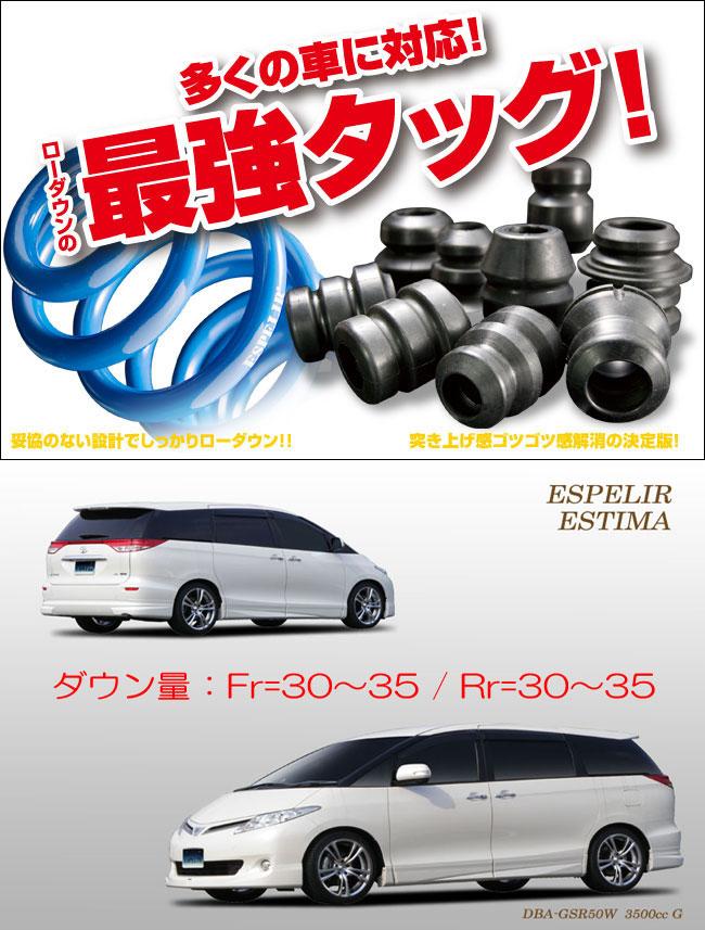 [ESPELIR]GSR50W エスティマ(2WD/3.5L)用スーパーダウンサス+バンプラバー