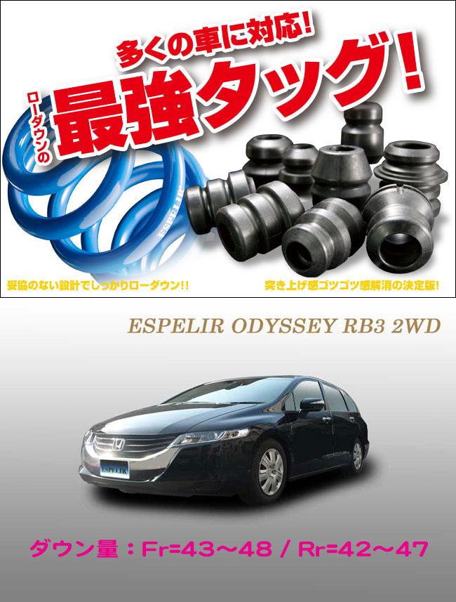 [ESPELIR]RB3 オデッセイ(2WD/2.4L/M)用スーパーダウンサス+バンプラバー