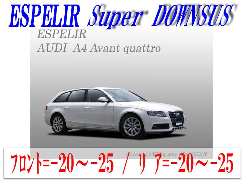 【エスぺリア】[ESPELIR]8KCDNF アウディ A4アバント(2.0L ターボ / 2.0TSFI quattro)用スーパーダウンサス