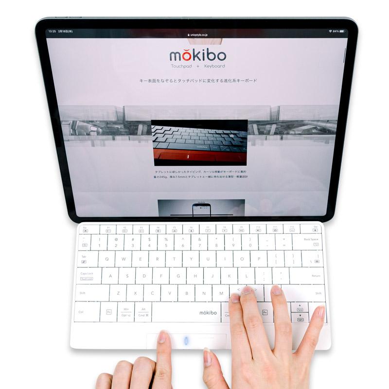 安心のメーカー直営店 キー表面をなぞるとタッチパッドに変化する進化系キーボード mokibo 英語配列 モデル 国内正規品 タッチパッド内蔵 Bluetooth接続ワイヤレスキーボード 迅速な対応で商品をお届け致します マルチデバイス対応 数量限定:レッド モバイルキーボード ブラック 直営店限定カラー MKB316US