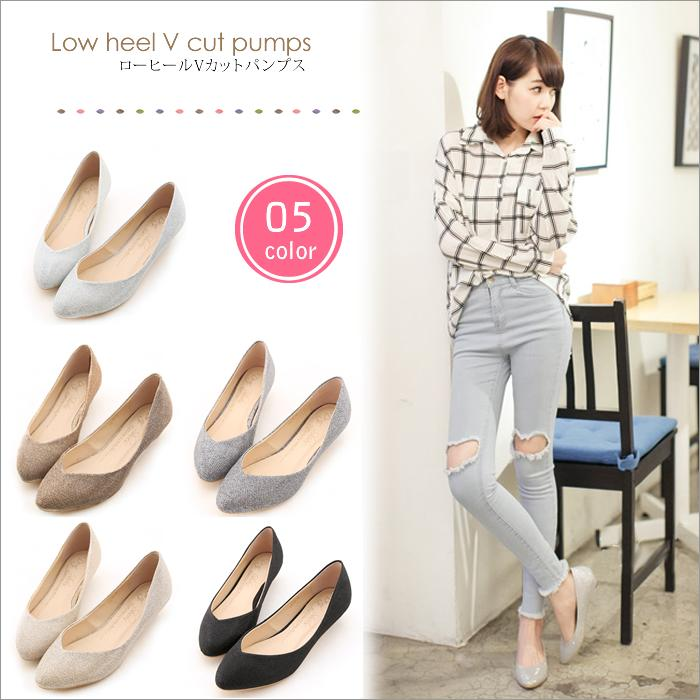 unique pocket | Rakuten Global Market: Pumps low heel V cut pumps ...