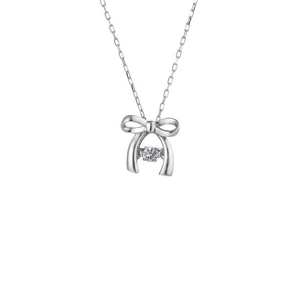 話題のDancing Stoneダイヤネックレス ダンシングストーンペンダント セットアップ ネックレス K18WG 天然ダイヤモンド0.03ct FTW-2143_18WG 売り出し