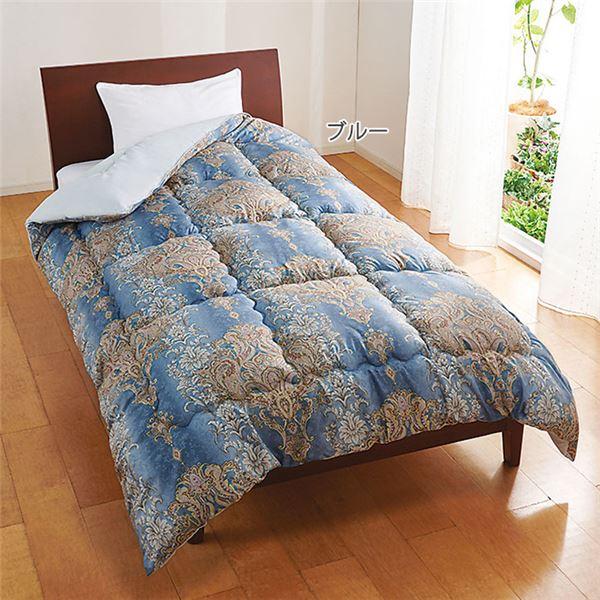 羽毛タッチ 掛け布団/寝具 【ダブル ブルー】 幅190cm 日本製 洗える 軽量 東レ セベリス 〔ベッドルーム 寝室〕