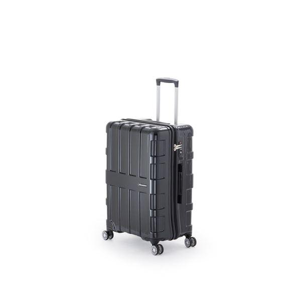 ファスナー式スーツケース/キャリーバッグ 【オールブラック】 60L 軽量 アジア・ラゲージ 『MAX BOX』