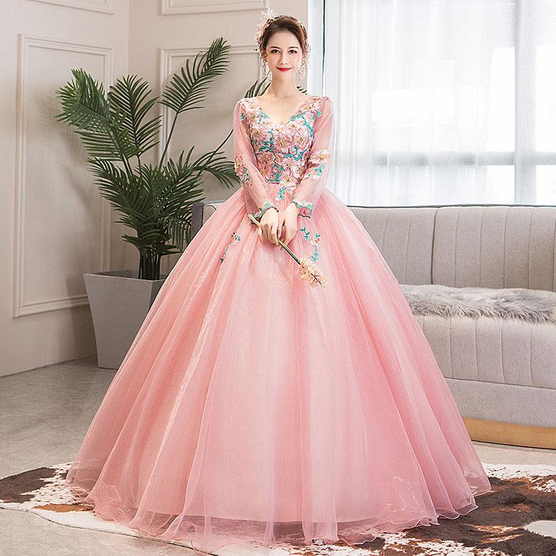 ステージ 衣装 演奏会用ドレス ピンク ロングドレス 上品 プリンセスラインドレス ウエディングドレス 花嫁 長袖 二次会 結婚式 成人式 フォーマルドレス パーティードレス 刺繍 セミオーダー 編み上げ