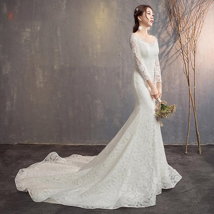 高級 マーメイドライン ウェディングドレス 長袖 花嫁 ドレス 結婚式 ウエディングドレス 二次会 ロングドレス 披露宴 ブライ