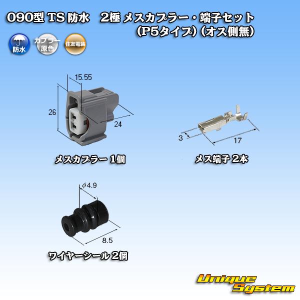 住友電装 090型 店内全品対象 安心の定価販売 TS 防水 2極 オス側無 メスカプラー 端子セット P5タイプ