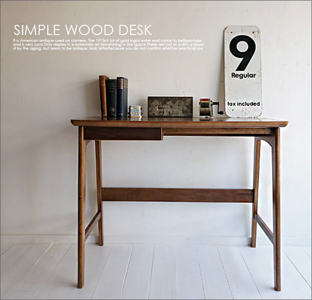 【送料無料】木製デスク/北欧レトロシャビーシンプルアンティークカフェインダストリアル家具幅90cm