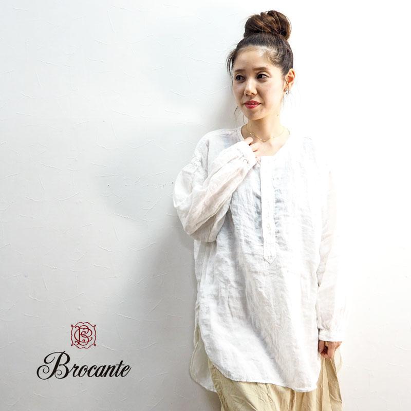 Brocante ブロカント カンパーニュシャツ 36 172L カンパーニュシャツ チュニックシャツ レディース 長袖 春 麻 カジュアル シンプル ナチュラル 大人 白 ホワイトtQrCdxshB