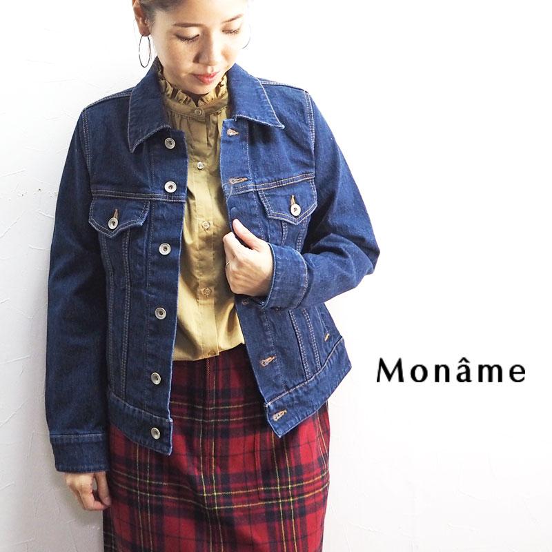 Moname モナーム ジャケット レディースデニムジャケット 41193083 Gジャン デニム ジージャン ジーンジャケット おしゃれ カジュアル シンプル 大人 ライトアウター 羽織 綿 コットン 日本製