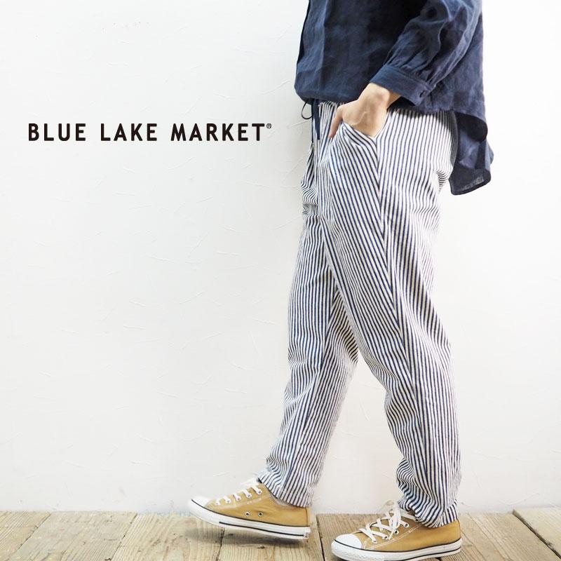 BLUE LAKE MARKET ブルーレイクマーケット 2タックテーパードパンツ B-388001 テーパードパンツ パンツ レディース ロングパンツ テーパード ストライプ 柄 総柄 春 春夏 おしゃれ カジュアル きれいめ 上品 ウエストゴム タック ネイビー ボトムス 大人