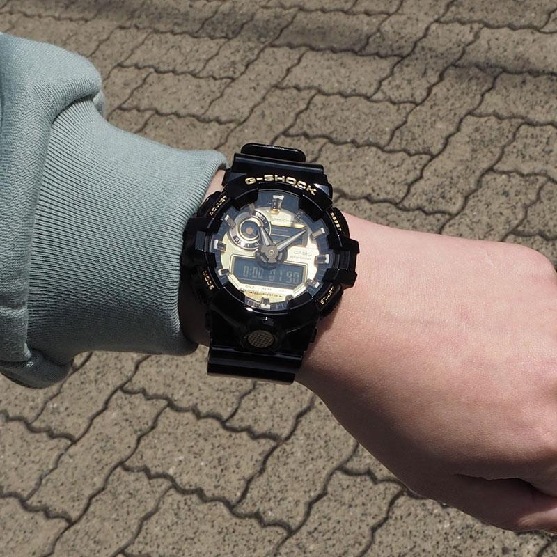 CASIO カシオ G-SHOCK ジーショック GA-700 SERIES ベーシック BASIC 腕時計 GA-710GB-1AJF レディース 定番モデル スタンダードモデル 防水 アナデジ時計 ストリート かっこいい 黒 金 ブラック ゴールド