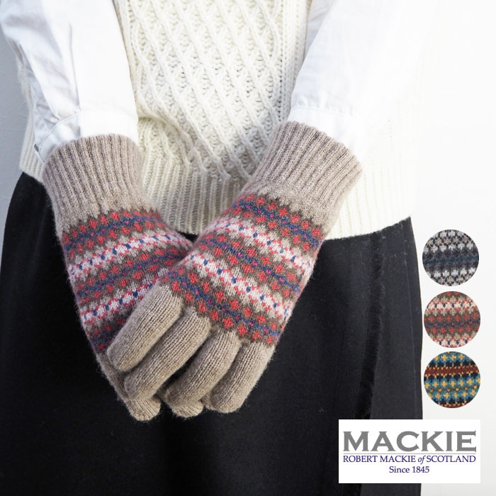 6a29340a36e ROBERT MACKIE McKee fair Isle pattern knit glove GL574 gloves women's fair  Isle pattern knit gloves Glove Mitten for women knit wool 100% wool hand ...