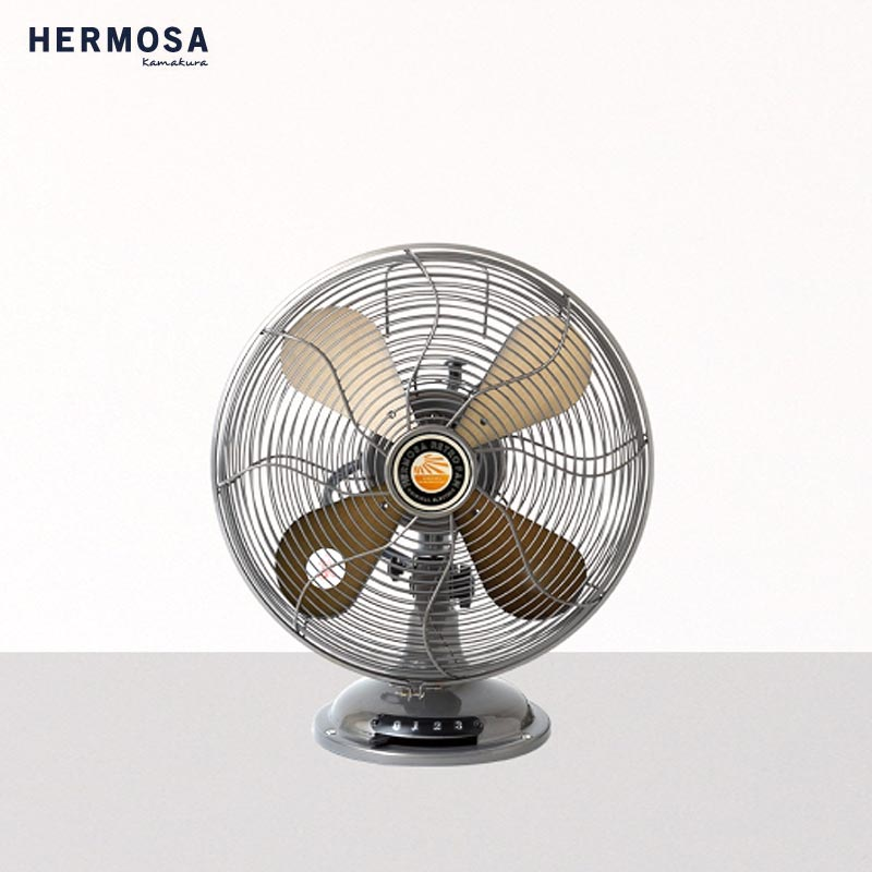 HERMOSA ハモサ レトロテーブルファン 扇風機 RF-0119 サーキュレーター 卓上扇風機 卓上 レトロファンテーブル レトロ ビンテージ ヴィンテージ感 おしゃれ 夏 家電 シルバー サックス シルバー ブラック 黒
