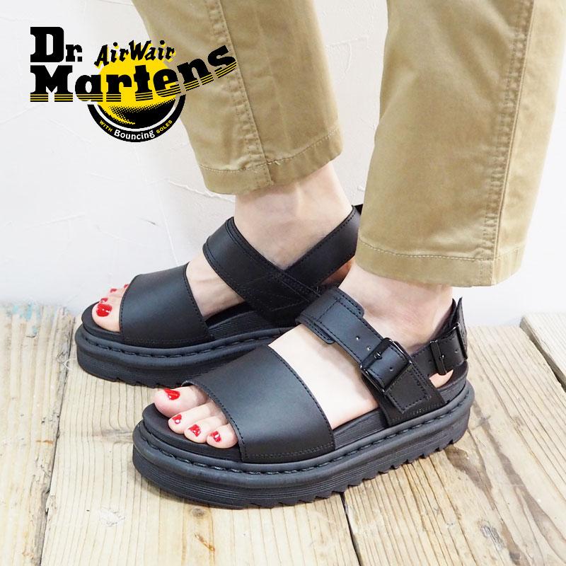 Dr.Martens ドクターマーチン ZEBRILUS VOSS ゼブリラス ヴォス 23802001 サンダル 靴 シューズ レディース レザーサンダル 厚底サンダル 厚底 ぺたんこ 黒 ブラック レザー カジュアル きれいめ 上品 ベルト 歩きやすい