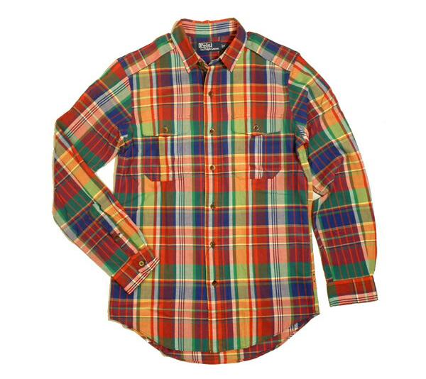 Ralph Lauren シャツ ラルフローレン チェックシャツ マドラスチェック エポレットデザイン 長袖シャツ メンズ Sサイズ 送料無料