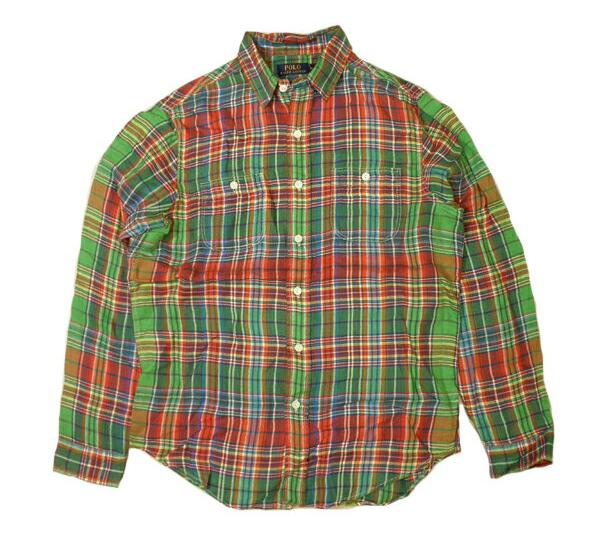 ラルフローレン チェックシャツ RALPH LAUREN リネン 長袖 ビンテージ加工 ビンテージレッド×グリーンetc メンズ Mサイズ 送料無料 送料込み