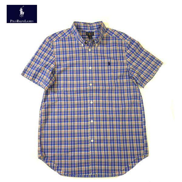 ラルフローレン ボーイズチェックシャツ半袖ボタンダウンRALPH LAUREN BOYSブルー×ホワイト×レッドetcキッズ Boy's XLサイズメンズMサイズ相当02P23May16【送料無料】【送料込み】