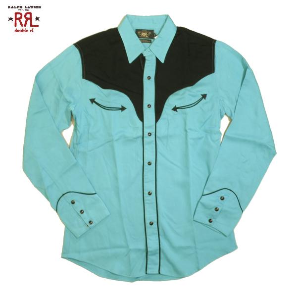 RRL ウエスタンシャツ ダブルアールエル シャツ カウボーイシャツ 長袖 ブルー×ブラック アウトレット品 Sサイズ Mサイズ 送料無料