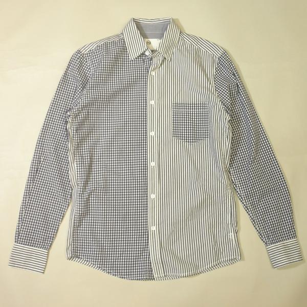 AG アドリア-ノ ゴールドシュミット クレイジーパターンシャツ ADRIANO GOLDSCHMIED ギンガムチェック ストライプ メンズ XXSサイズ ネイビー×ホワイト 送料無料