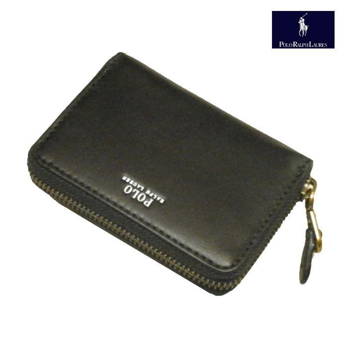 ラルフローレン 財布 レザーウォレット POLOロゴ 2つ折り革財布 ジップアラウンド Ralph Lauren 小銭入れあり カードいれあり アウトレット品 スレアリ ブラック 送料無料