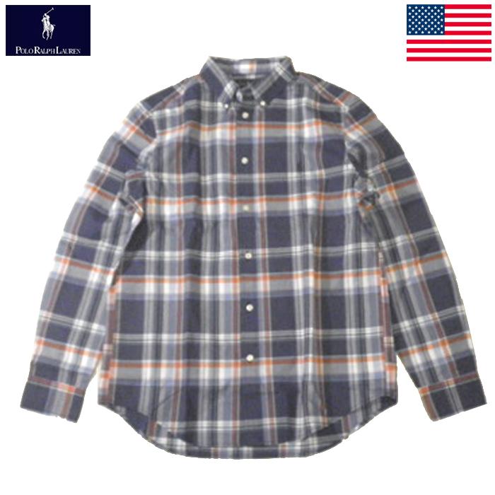 ラルフローレン ボーイズ チェックシャツ 長袖 RALPH LAUREN ポニーロゴ刺繍 ネイビー×ホワイト×オレンジ×グリーン ボーイズXL メンズMサイズ相当 レディース兼用 送料無料