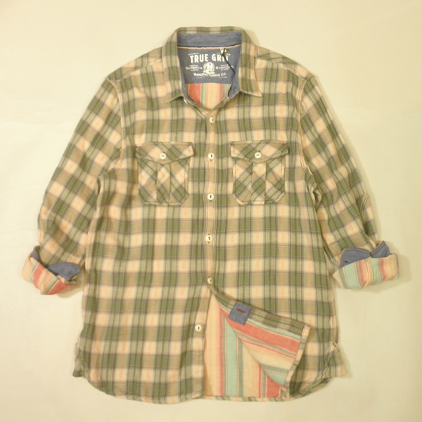 トゥルーグリット ネルシャツ TRUE GLIT CLOTHING チェックシャツ ネイティブ柄 裏地ストライプ ビンテージ加工 カーキ×ベージュetc 長袖 メンズ Lサイズ 送料無料 送料込み