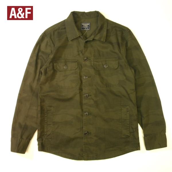 アバクロ 迷彩 シャツジャケット ウッドランド カモフラージュ メイサイ 長袖 アバクロンビー ミリタリーシャツ メンズ Lサイズ 送料無料 送料込み