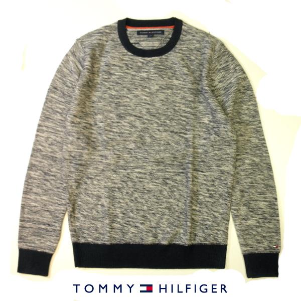 トミーヒルフィガー TOMMY HILFIGER コットンニットセーター トリコロールフラッグロゴ刺繍 クルーネック ホワイト×ネイビー 霜降り メンズ XSサイズ 送料無料 送料込み