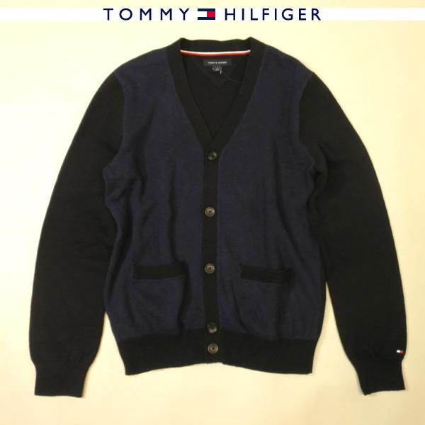TOMMY HILFIGER トミーヒルフィガー カーディガンコットンニット ウールブレンド アウトレット品 ビンテージユーズド加工 ネイビー×ブラック メンズ Sサイズ Mサイズ 送料無料 送料込み