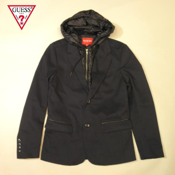 GUESS テーラードジャケット ゲス USA ナイロンキルティングパーカー アウター アウトレット品 ネイビー×ブラック メンズ XSサイズ 送料無料 送料込み
