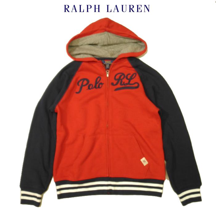 ラルフローレン スウェットパーカー フルジップ ジップアップ フードジャケット Ralph Lauren BOYS POLO RL ロゴ刺繍 レッド×ネイビー キッズ ボーイズLサイズ メンズ レディース兼用 送料無料 送料込み