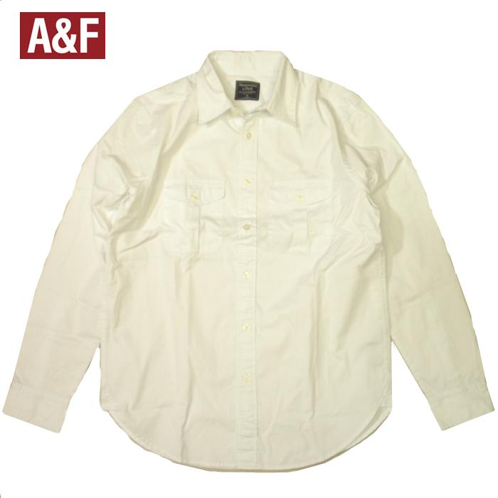 アバクロシャツ Abercrombie&Fitch アバクロンビー&フィッチ 長袖 ホワイト ポケットあり アウトレット品 メンズ 大きいサイズ XLビッグサイズ 送料無料 送料込み