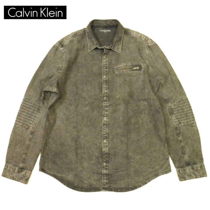 カルバンクライン ブラックデニムシャツ ライダース calvin klein JEANS ハードウォッシュ色落ち加工 メンズ Lサイズ 送料無料 送料込み