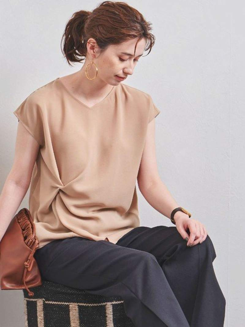 [Rakuten Fashion]UBCBTA/PツイストVネックブラウス UNITED ARROWS ユナイテッドアローズ シャツ/ブラウス シャツ/ブラウスその他 ベージュ ホワイト ネイビー【送料無料】