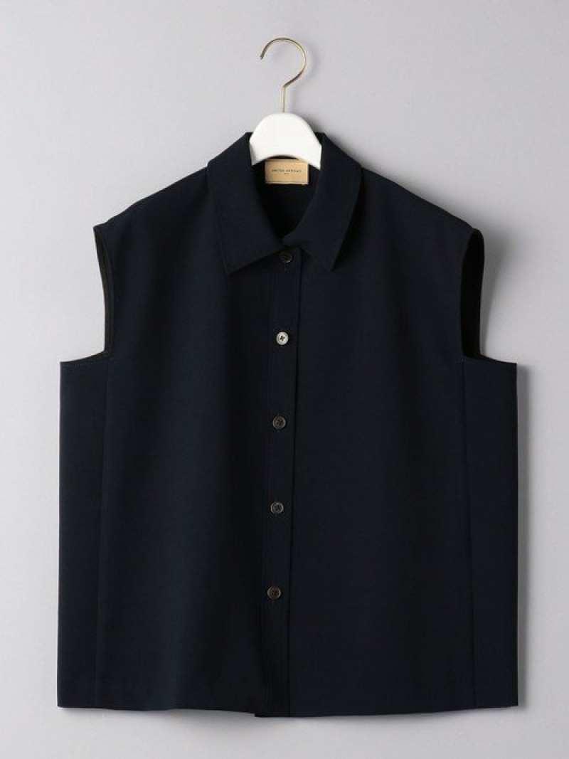 Fashion UGCBR Pレギュラーカラーノースリーブシャツ UNITED ARROWS ユナイテッドアローズ シャツ ブラウス 長袖シャツ ブラウン ネイビー 送料無料TlFuJ31Kc
