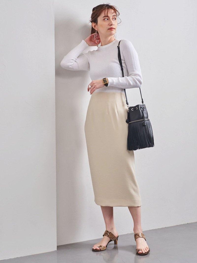 UNITED_ARROWS0224 UNITED ARROWS レディース 期間限定の激安セール スカート ユナイテッドアローズ UBC タイトスカート ネイビー ドビー 送料無料 Rakuten ホワイト 直営限定アウトレット Fashion
